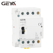 GEYA GYHC 3Phase 40A 63A 3NO Din Rail Household AC Modular Contactor with Manual Control Switch