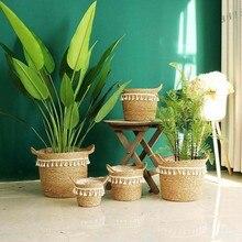 Nordic feito à mão palha lavanderia piquenique brinquedo cesta de armazenamento borla macrame tecido vaso de flores planta recipiente casa decoração do jardim