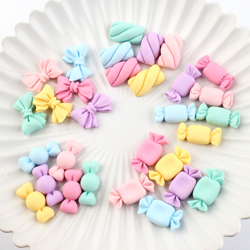 20Pcs Mini Simulation Candy bowknot Flat back Resin Cabochons Hair Bow Center DIY Embellishments for Scrapbooking Phone Deco
