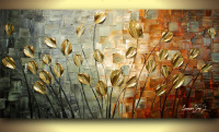 Handmade Painting Nature Canvas Art Heavy Texture Flower Oil Painting On Canvas Wall Paintings Modern Sets Vinicor Art