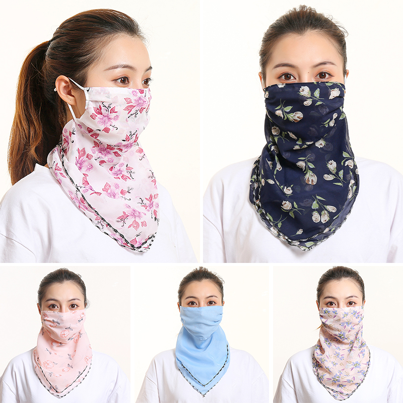 Face Mouth Scarf Sun Protection Face Cover Scarf Female Bandana Luxury Brand Silk Hair Neck Shawls Wraps Accessories New Summer