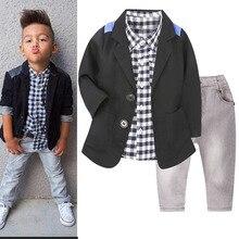 Комплект осенней одежды для мальчиков, повседневный костюм, куртка, рубашка в клетку, джинсы, модная детская одежда из 3 предметов для детей 2-8 лет