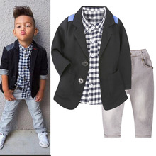 Boys Autumn Clothing Set Casual Suit Jacket Plaid Shirt Jeans 3Pcs Kids Fashion