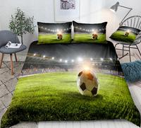 3D Football Bedding Soccer on Green Field Bed Set Sports Ball Quilt Cover Queen Home Textiles White Black 3pcs Teens Dropship