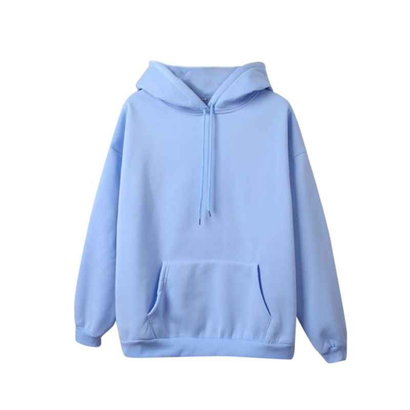 Women Comfortable Warm Hoodies Solid Color Long Sleeve Velvet Loose Hooded Ladies Sweatshirt Fall Clothes Pullover