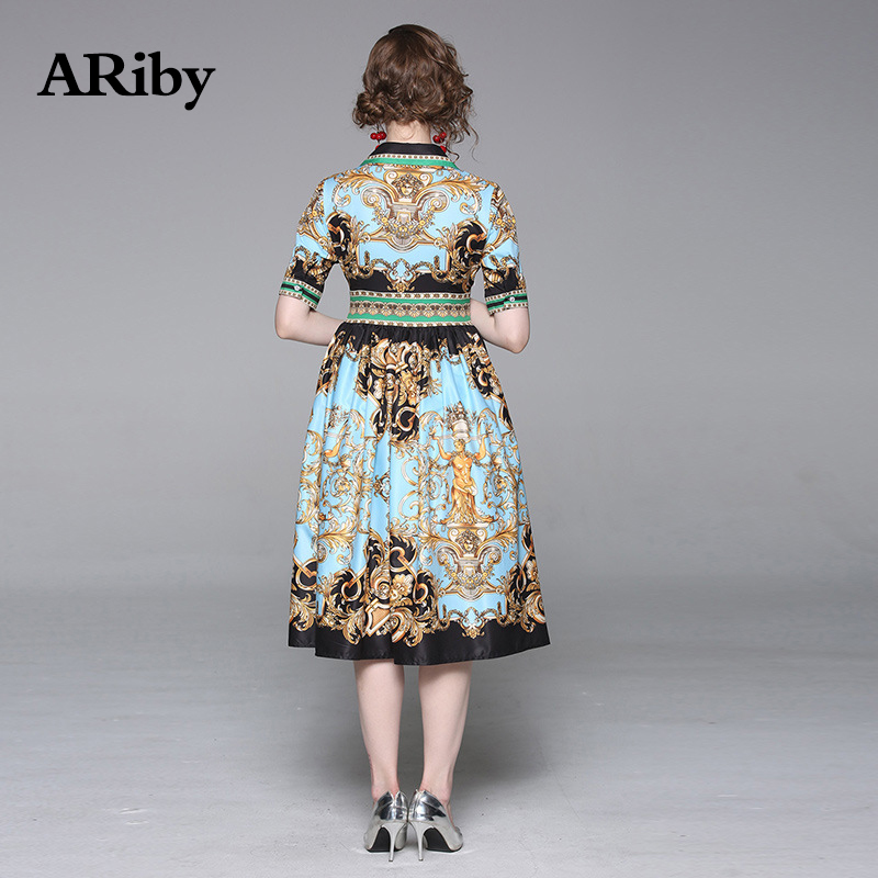 ARiby Women Printed Slim Mid length Dress 2019 Summer New Fashion Vintage Lady Elegant Short Sleeve V Neck Empire A Line Dress in Dresses from Women 39 s Clothing