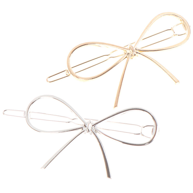 1pcs New Vintage Hairpins Metal Bow Knot Hair Barrettes Girls Women Hair Accessories Hairgrips Gold/ Silver
