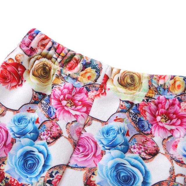 VEENIBEAR Thick Warm Girls Pants Velvet Flower Print Leggings Kids Children Winter Pants 3