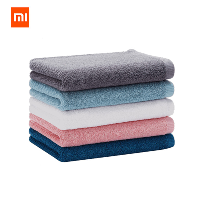 XIAOMI Mijia 32 <font><b>x</b></font> 70cm Towel 100% Cotton <font><b>5</b></font> Colors Strong Water Absorption Bath Soft and Comfortable Beach Face Hand Towels image