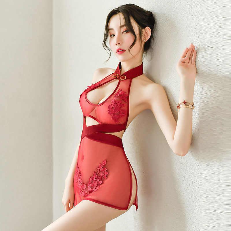 Jakarlı örgü See Through seksi çin bölünmüş Mini elbiseler Qipao geleneksel Cheongsam Babydoll Lingerie parti gece kulübü üniforma