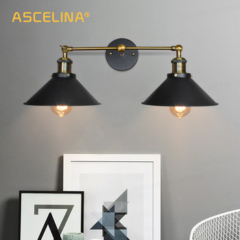 ASCELINA Vintage Wall Lamp Loft E27 Double Head Sconce Wall Lights Iron industrial decor Indoor lighting For Bedside Living Room american wall lamp industrial vintage loft style wall light for bedside wall sconce glass iron art edison e27 lighting fixtures