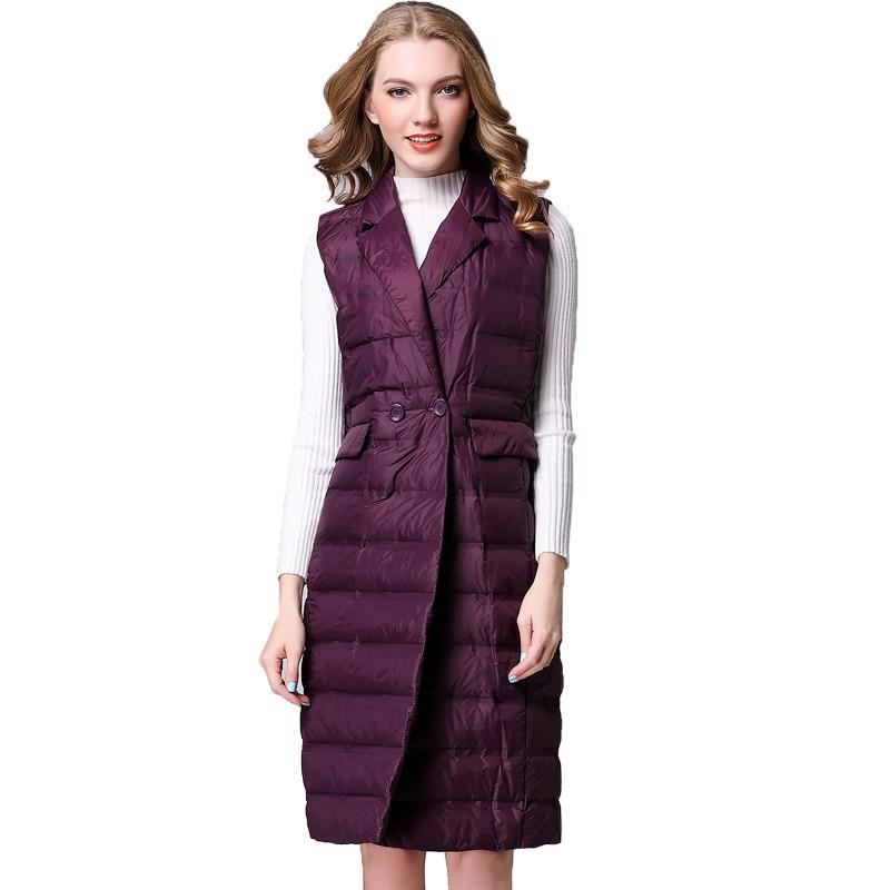 Ultra Light Down Vest Women European Autumn And Winter Down Vest Women's Long Down Coat Slim Female Vest Coats NS1526