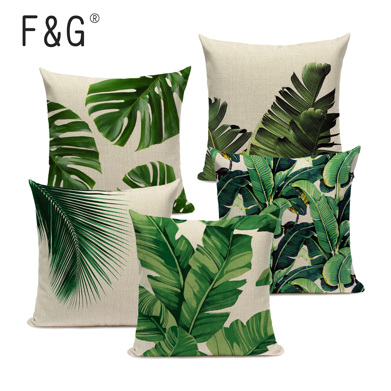 Tropical Banana Leaves Cushion Cover Palm Leaf Pillow Cases Linen Car Decorative Pillowcase Large Floor Sofa Home Throw Pillows