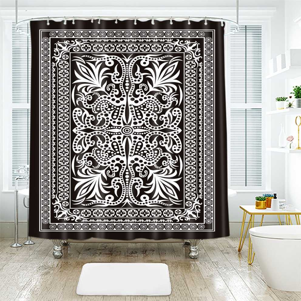 3d Floral Pattern Beautiful Ethnic Geometric Design Shower Curtains Waterproof Thickened Bath Curtains for Bathroom Customizable