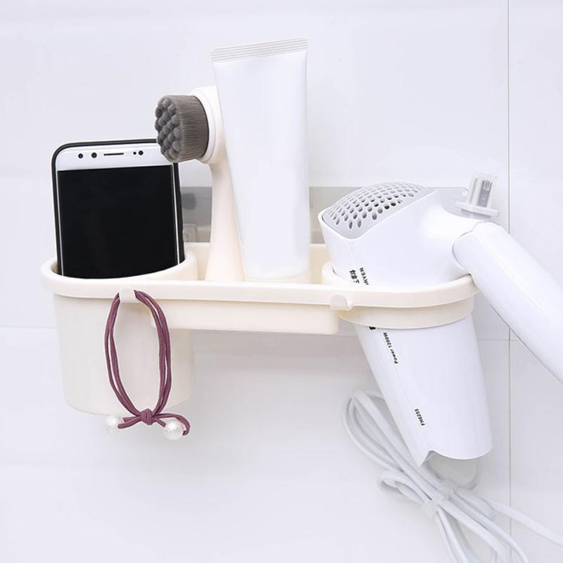 Bathroom Hair Dryer Holder ABS Wall Stand Sturdy Adhesive Mount Stand Washroom Storage Rack