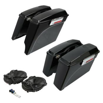 "Motorcycle Painted Black Saddlebags 5x7"" Speaker For Harley Touring Street Road Glide 1994-2013"