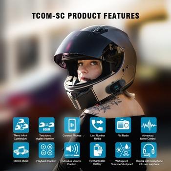 Original FreedConn Updated TCOM-SC BT Bluetooth for All Motorcycle Helmet Intercom Interphone Headset with LCD Screen + FM Radio