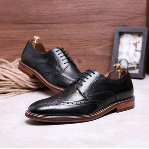 Image 4 - DESAI New Arrivals Light Brown Men Business Dress Shoes Genuine Leather Derby Gentleman Shoes Formal Carved Bullock Brogue
