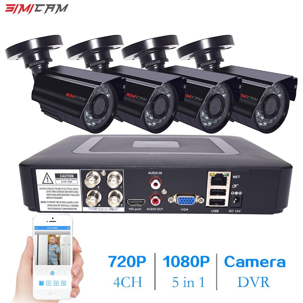 Simicam CCTV камера системы 2MP 4CH 720 P/1080 P AHD камера безопасности DVR комплект CCTV Водонепроницаемая наружная домашняя система видеонаблюдения