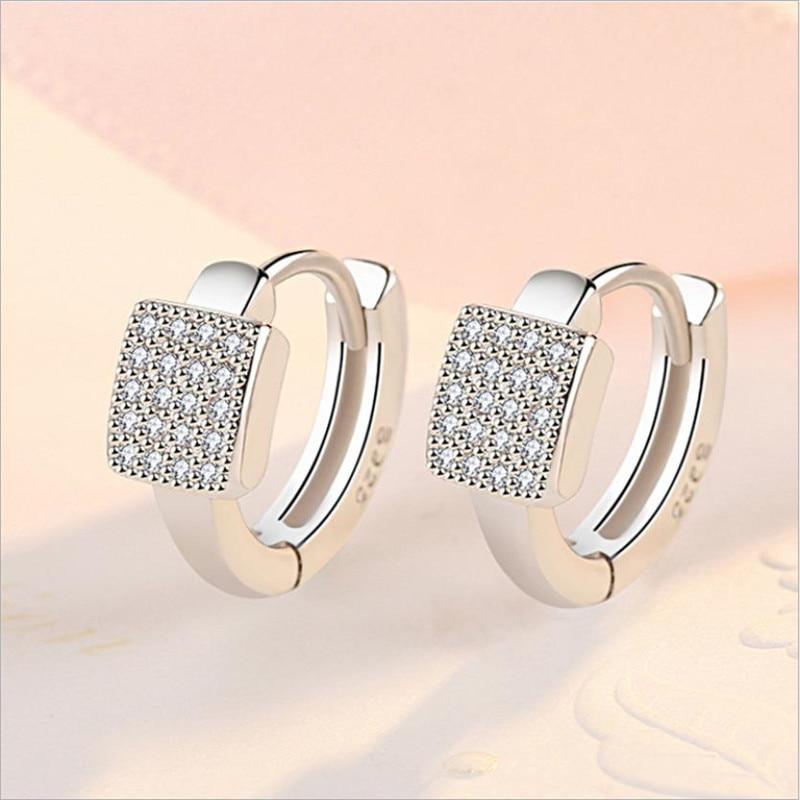 2020 New Arrival Lady Silver 925 Earrings Women Jewelry Fashion Zircon Hoop Earring Female Accessories Square Silver Earring Hot