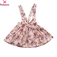 Toddler Kids Baby Girls Floral Printing Sleeveless Tutu Skirt with Suspender Overalls Newborn Clothes Party Bib Straps Skirts