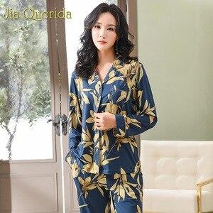Image 2 - Spring Autumn Pajama Cotton Plush Lady Homewear Women Pyjamas Set Plus Size Floral Printing Women Pyjamas Navy Luxury Loungewear