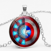 Statement Avengers Movie Series Necklace Iron Man Heart Shaped and Captain America Shield Glass Time Gem Pendant Necklace