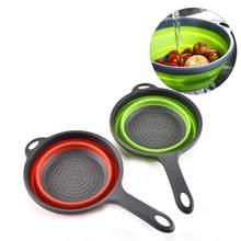 Colador plegable de plástico y silicona para frutas y verduras, escurridor con mango, herramienta de cocina, 1 unidad