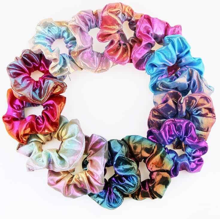 1 pc glitter bronzing arco-íris scrunchie elástico faixas de cabelo laços de cabelo corda de cabelo colorido acessórios de cabelo para meninas