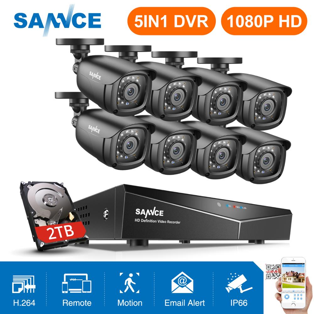 SANNCE 8CH 1080P 2.0MP HD CCTV System Video Recorder 8PCS 1080P CCTV Security Camera Waterproof Night Vision Surveillance Kits