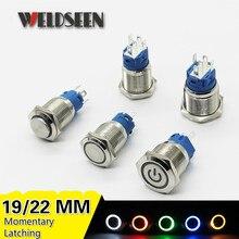 19mm 22mm metal interruptor de botão led luz 3v 6v 12v 24v 220v momentâneo auto reset travamento auto bloqueio tomada de botão de energia