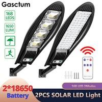 Farol Solar LED para exteriores, lámpara de calle impermeable con Sensor de movimiento, de seguridad, para jardín, Patio, 2x168, 18650 unidades