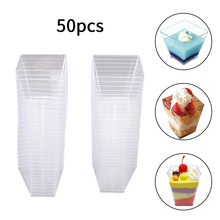 50Pcs 2oz/60ml Dessert Cup Disposable Mini Square Cube Quality Plastic Sample Dish Cake Jelly Pudding Party Accessories