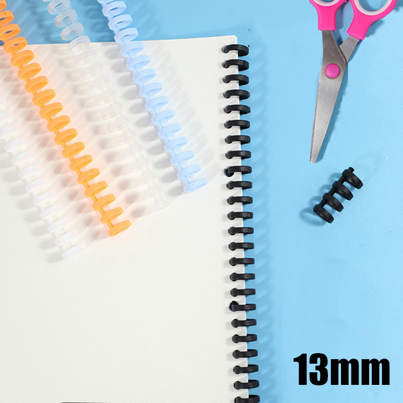 13mm Binding Plastic Strip 30 Holes DIY Spiral Ring Coil Notebook Notepad Paper Binders Loose-leaf Booking Binder For School Kid