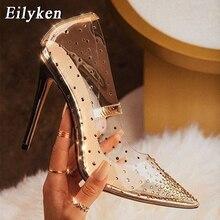 EilyKen Golden Rhinestone PVC โปร่งใสผู้หญิงปั๊มรองเท้าฤดูใบไม้ผลิฤดูใบไม้ร่วงรองเท้าส้นสูง PVC เซ็กซี่งานแต่งงานรองเท้าขนาด 41 42