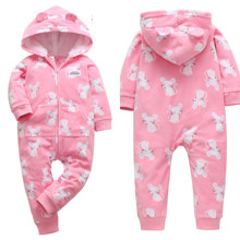 2019 Fall Winter Newborn Baby Romper long-sleeved Fleece Warm hooded infant boy clothes Baby girl jumpsuit(China)