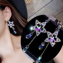 цена на Fashion Dangle Earrings Party Women Shiny Rhinestone Inlaid Star Long Tassel Drop Dangle Stud Earrings Trendy Jewelry