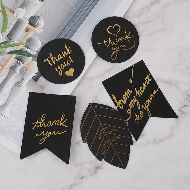 10pcs Black Paper Hang Tag Label Gold Stamping With Heart Thank You Paper Gift Tags  For Gift Box Party Birthday Decor