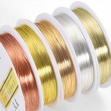 Rouleau de fil de cuivre sans décoloration, de 5 couleurs, 0.2/0.3/0.4/0.5/0.6/0.7/0.8/1.0mm de cordon à perles pour la fabrication de bijoux, bricolage