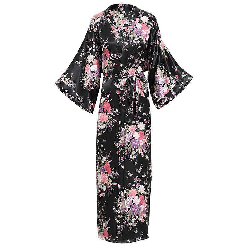 Pembe gelin nedime düğün elbise çinli kadınlar uzun Rayon bornoz Kimono elbisesi seksi iç çamaşırı pijama çiçek artı boyutu 3XL