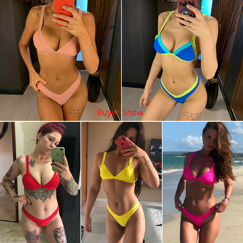 Bikini 2020 Solid Swimsuit Women Swimwear Push Up Bikini Set Patchwork Biquini Brazilian Summer Beach Bathing Suit Swim Wear 6