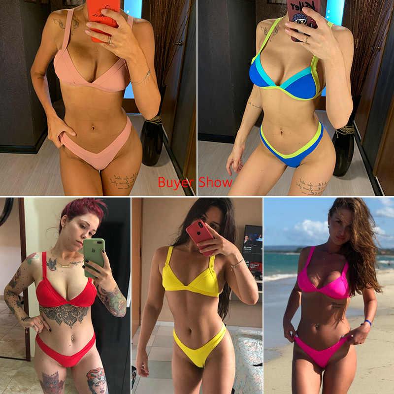 Bikini 2020 Effen Badpak Vrouwen Badmode Push Up Bikini Set Patchwork Biquini Braziliaanse Zomer Strand Badpak Zwemkleding