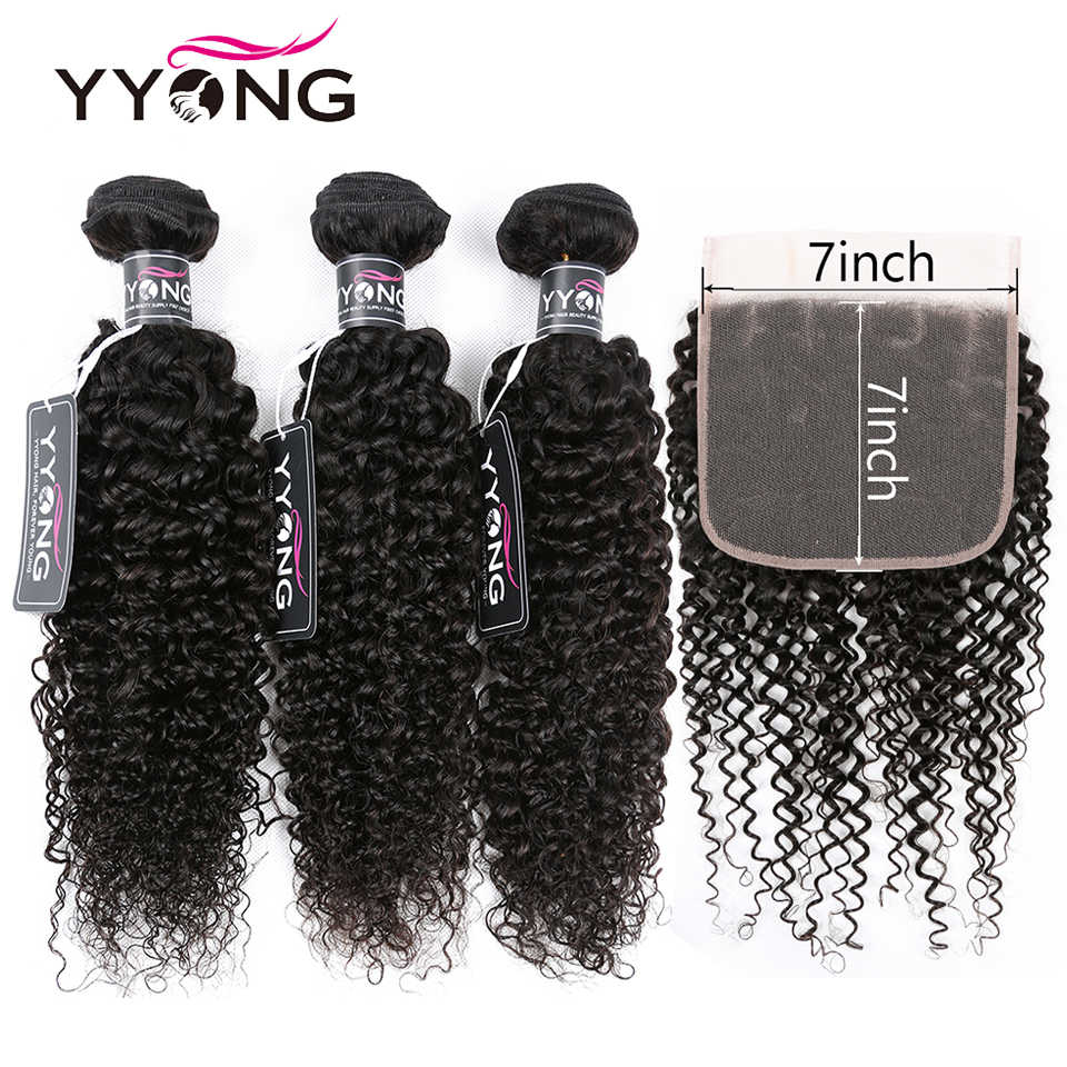 Yyong Brazilian Kinky Curly Hair Bundles With 7x7 Closure Remy Pre Pluck Lace Closure With Bundle 30inch Bundles With Frontal