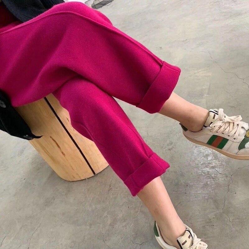 2020 automne hiver nouvelles femmes décontracté solide tricot épais chaud large jambe pantalon femme ample droite cheville longueur pantalon Q145