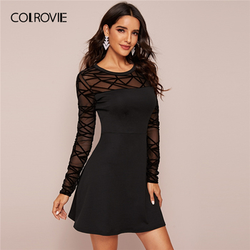 COLROVIE Black Sheer Contrast Mesh Solid Dress Women A Line Mini Dress 2020 New Spring Long Sleeve Ladies Elegant Dresses
