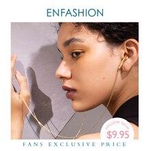 ENFASHION Metal kulakiçi zincir gerdanlık kolye kadınlar altın renk paslanmaz çelik kulaklık kolye Femme moda takı P193048