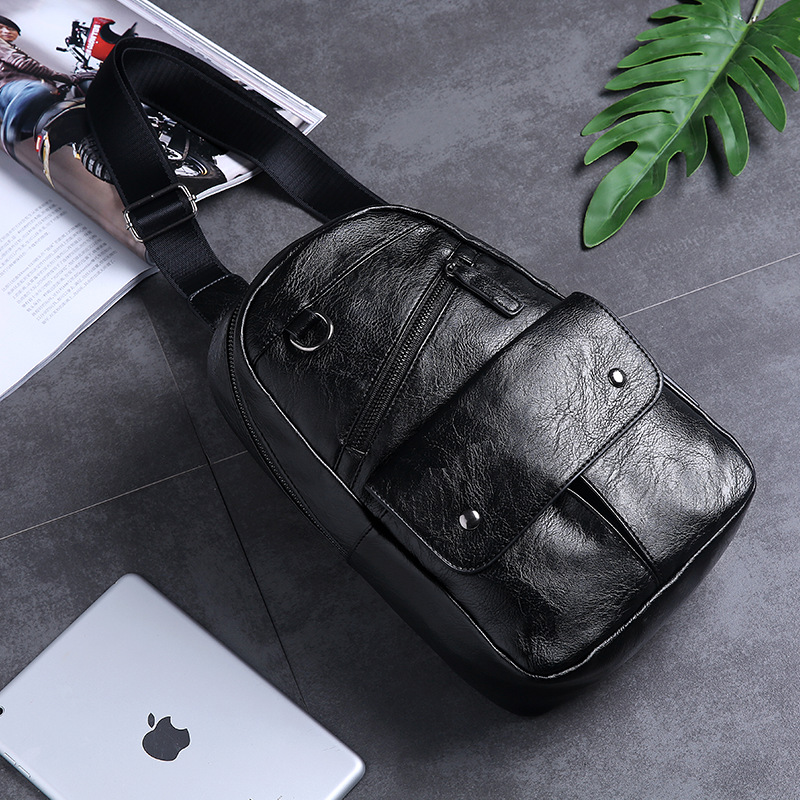 New large capacity chest bag back fashion bag men's bag street leather shoulder bag youth satchel