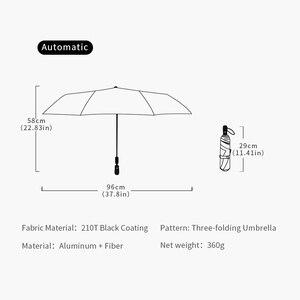 Image 5 - Wysokiej jakości parasol automatyczny deszcz kobiet trzy składany parasol wiatroszczelny czysty kolor parasol kobiet wodoodporny parasol