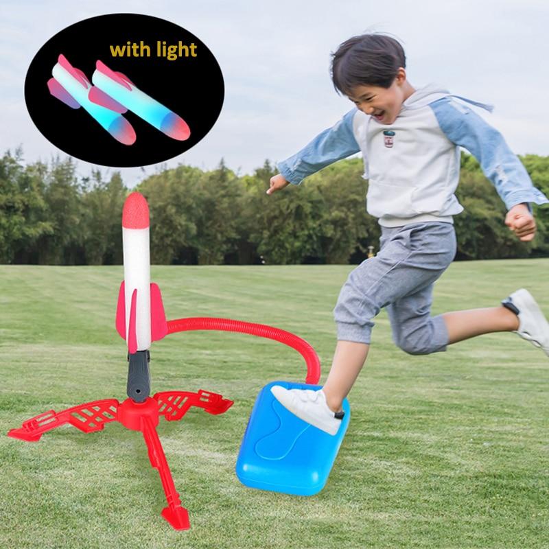 Ayarlanabilir Stomp roketatar oyuncaklar spor oyunu çocuklar roket fırlatıcı hava adım pompa güç roket açık spor oyuncaklar çocuklar için