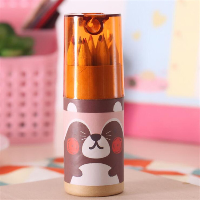 12Pcs/Box Mini Crayons Pencils Stationery Cute Bear Pencils For School Girl Boy Colored Pencils YOUE SHONE 3